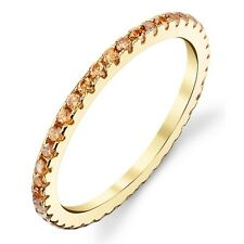 Sterling Silver 14K Yellow Gold Cubic Zirconia Stackable CZ Wedding Bands Rings