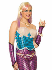 #MERMAID CORSET WITH SHELL BRA BLUE TOP ADULT WOMAN ONE SIZE FANCY DRESS