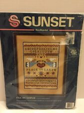 Sunset Needlepoint Folk Art Sampler Counted Cross Stitch Kit 1994  No. 12106