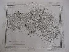 1835 Carte Atlas Géographique France Département de Orne  Normandie