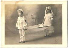 Really Cute Photo Boy & Girl Dressed as Medics Carrying a Liter c1918 ~ Corvalli