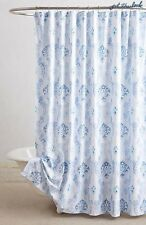 NWT ANTHROPOLOGIE Portel Shower Curtain Bath Blue White Cotton Portugal