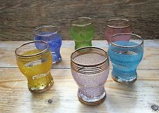 Set Of 6 Frosted Effect Vintage Drinking Glasses/1950's Retro/Rainbow/Harlequin