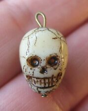 VINTAGE Czech Glass Human SKULL Charm Cracker Jack