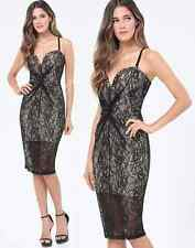 NWT bebe black lace nude straps lingerie plunge bustier midi top dress XS 2 sexy