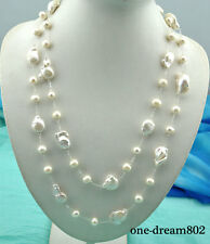 """54"""" 26mm baroque white reborn keshi 10mm round pearl necklace"""