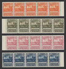 CHINA-RARE-1932-SVEN HEDIN-Northwest Expedition-MNH strips of 5+margins-PO FRESH