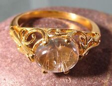 Gold plated brass everyday rutilated quartz stone ring UK O½/US 7.5