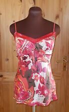 PRINCIPLES pink red brown coral floral sequin SILK camisole vest tunic top 10 38