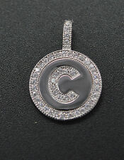 PM43 Created Diamond Round Cut Initial Letter C Pendent .25ct 14K White Gold
