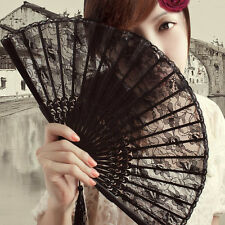 Women Various style Vintage Retro Flower Lace Handheld Folding Black Hand Fan