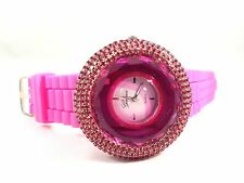 Women's Big Face Crystals Rhinestones Geneva Pink Silicone Watch