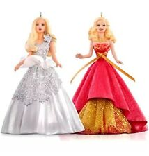 Celebration Barbie 2015 Hallmark Ornament Set  Holiday Barbie  2013 / 2014 Red