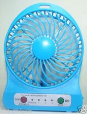Portable Mini Rechargeable LED Light Fan With Charger Battery & USB Cable(Blue)
