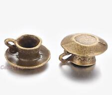 10 x Antique Bronze Alice in Wonderland Tea Cup Charms Steampunk