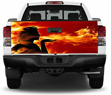Girl Flames Fire Kiss Tailgate Wrap Vinyl Graphic Decal Sticker Wrap