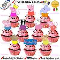 24 Peppa Pig & Friends STAND UPS Fairy Cup Cake Toppers Edible Rice Paper Card