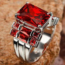 RED SAPPHIRE 13 STONES HIGHLIGHTS IN SILVER WOMEN'S RING-SIZE 8
