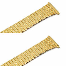 2 PIECES SPEIDEL 18-22MM GOLD TAPERED TWIST O FLEX EXPANSION WATCH BAND STRAP