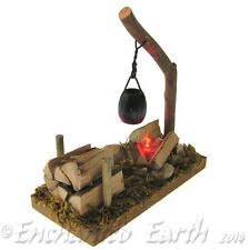 NEW FAIRY GARDEN /MINIATURE GARDEN/LONG WOODLAND CAMP FIRE - WITH LED RED LIGHT