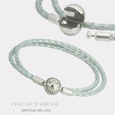 "Authentic Pandora Silver Light Blue Leather Bracelet 13.8"" 590734CBL-D1 *LAST 1*"