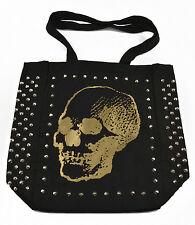 "E.vil Womens Cotton Tote Bag ""Three Quarter Skull Gold Ink with Spikes"" Black"