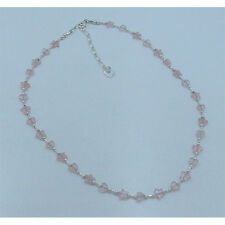PETITE .925 Sterling Silver Natural Pink Rose Quartz Heart Star Necklace
