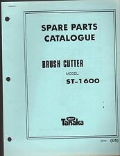 1988 & EARLIER TANAKA BRUSH CUTTER MODEL ST-1600 PARTS MANUAL