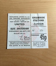 UEFA Cup Used Junior Ticket MANCHESTER UNITED v AJAX 29/9/1976 1st Rnd 2nd Leg