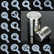 16pcs Cappuccino Coffee Barista Stencils+Stainless Steel Chocolate Shaker Duster