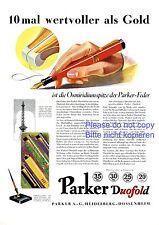 Füller Parker Doufold XL Reklame 1929 Osmiridium Feder Heidelberg Dossenheim -