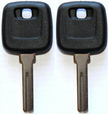 NEW FOR VOLVO S60 S80 XC90 V70 MASTER TRANSPONDER UNCUT CHIPPED KEY BLANK - PAIR