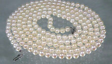 "Genuine Top AAA+ 6.5mm round white akoya pearl necklace 50"" 14k gold clasp"