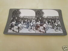 WW1 STEREOVIEW - MEN OF THE AMMUNITION COLUMN FEEDING THEIR MULES