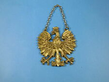 POLISH Eagle BADGE   Jagiellonian King, chain on wall POLAND HEAVY BRASS EMBLEM