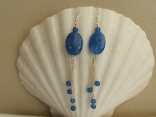 Long Drop Mediterranean Blue Quartzite Sterling Silver Earrings Cosmic Rocks