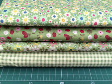 "4 pcs 12"" x 8"" 100% COTTON PATCHWORK FABRIC Green MIXED Floral g1 *Great Buy*"