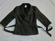 Halogen Size 6P Brown Tweed Belted Faux Leather Trim Jacket EUC