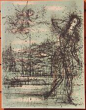 Lithographie de Jean CARZOU signée carte de voeux 1964 .