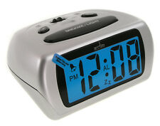 Acctim Silver Auric Alarm Clock Blue LCD Lighted Battery Operated