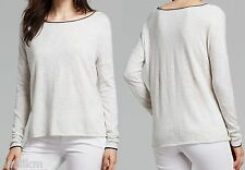 NWT $135 Vince Cotton Boatneck Sweater Size XS in Light Gray