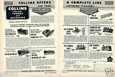 1952 2 Page Print Ad of Collins Audio Products AM-FM Pre-Fab Tuners & Receivers