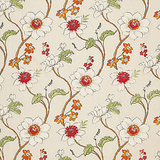"""Heavy Canvas Cotton Upholstery Craft Curtain Fabric Antique Floral Natural 44""""W"""