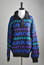 ICELANDIC DESIGN Vintage Handknit Mohair Wool Fuzzy Knit Sweater Top Size Medium