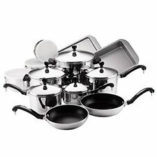 Farberware Classic Stainless Steel 17 Piece Pots and Pans Kitchen Cookware Set