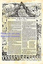 Die sieben Lichter der Gottesnacht 1919 Kunstdruck Märchen Gedicht Stieren Tod