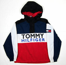 VTG 90S TOMMY HILFIGER COLORBLOCK WINDBREAKER JACKET BIG FLAG SPELLOUT POLO 1992
