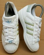 VINTAGE ADIDAS SUPERSTAR WHITE AND BLUE/GREEN TRAINERS IN SIZE 4 UK RARE