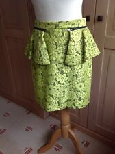 GREAT TOPSHOP LIME GREEN LACE OVER BLACK HIP FLARED PENCIL SKIRT UK SIZE 12 WORN