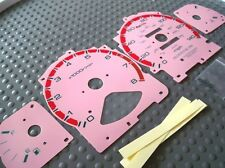 94-97 Automatic & Manual Accord Cluster White Face Glow Through Gauges in Pink